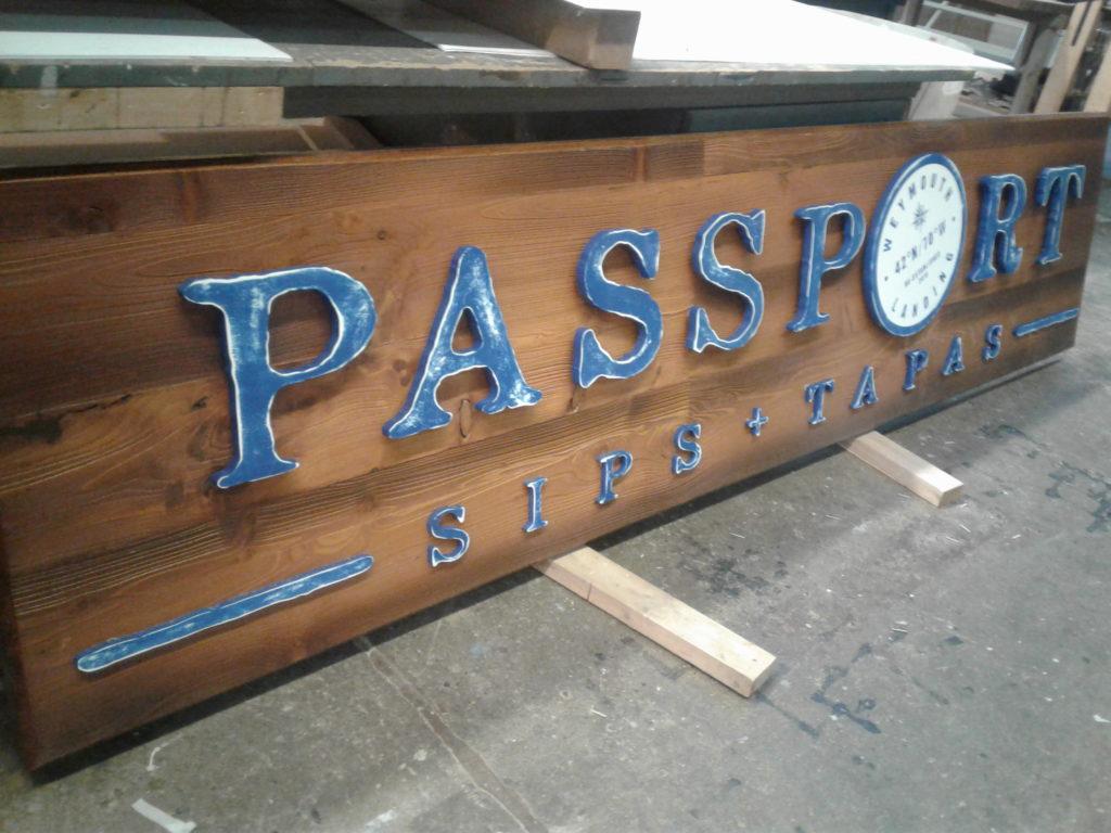 Passport Sips + Tapas Wood Sign - Restaurant Signs - The Sign Depot