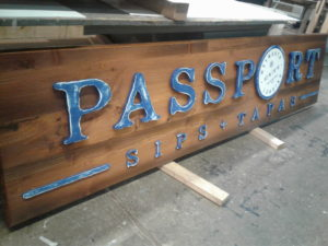 Passport Sips + Tapas Wood Sign - Restaurant Signs - The Sign Depot